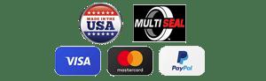 Made in the USA, Multiseal, Visa, Mastercard and Paypal logos