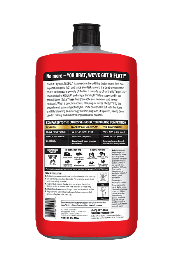 Back of Bottle of FlatOut MultiPurpose Formula Tire Sealant and Tire Additive